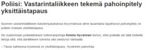 Helsinginuutiset, ei mainittavaa. totuudenperäinen ja rehellinen otsikko ja juttu.