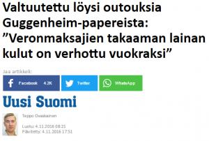Nyt wille Rydman kertoo facebook sivuillaan epäilystä Suomen hankkeesta